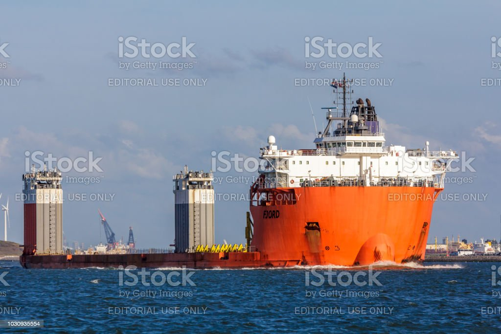 Fjord heavy lift vessel in Rotterdam harbor stock photo