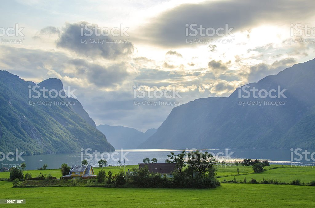Fjord in Clouds in Norway stock photo