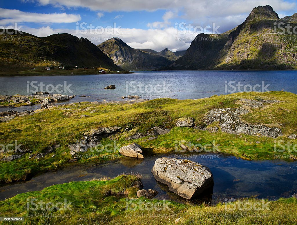 Fjord Inlet by Nusfjord Village royalty-free stock photo