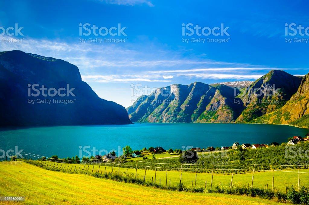 Fjord landscape of Naeroyfjord - Aurlandsfjord in Norway stock photo