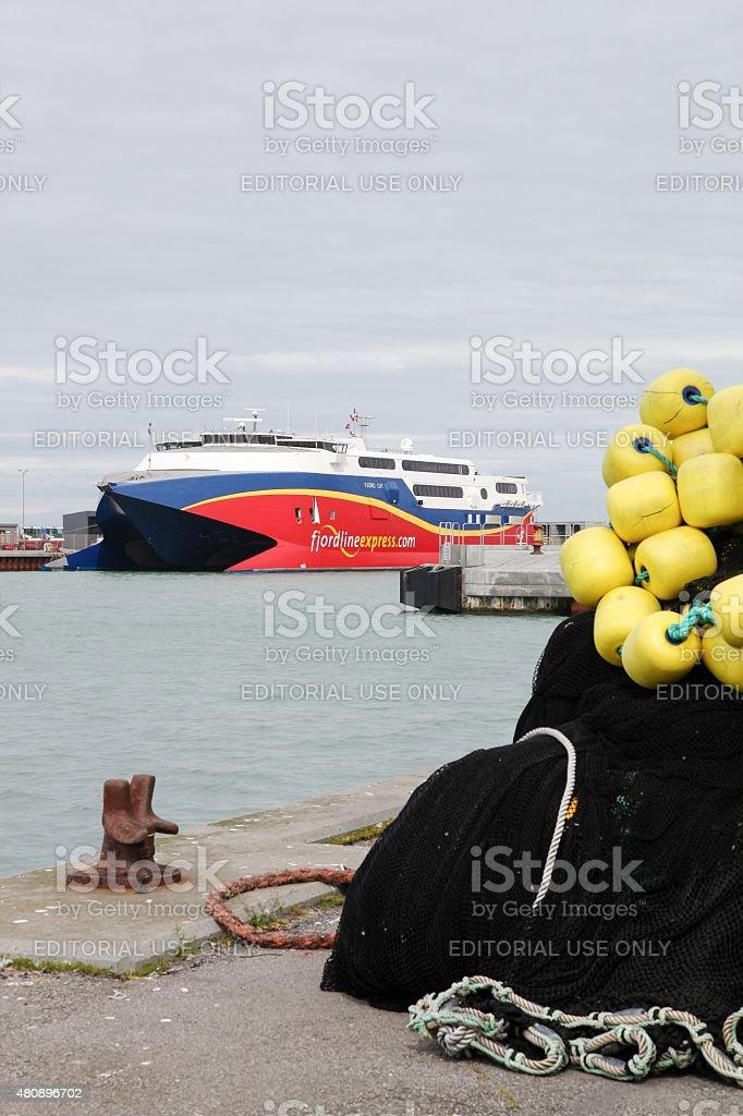 Fjord line ferry at Hirtshals harbor stock photo
