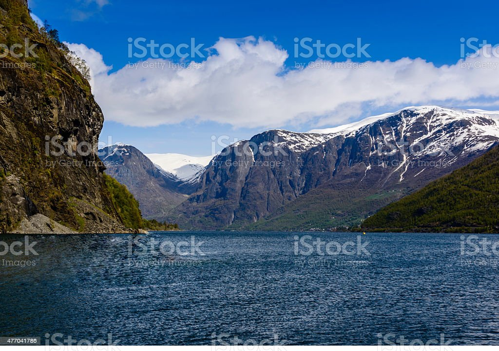 Fjord near Flam, Norway stock photo