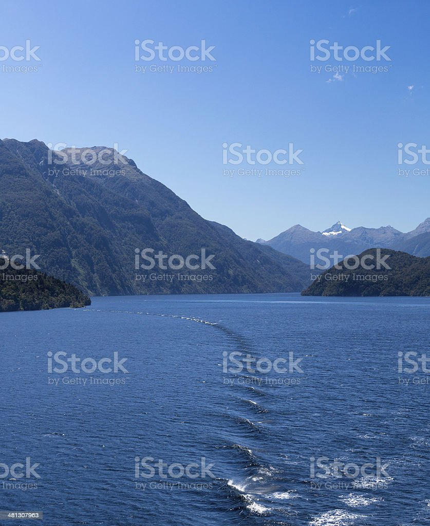 Fjord of Doubtful Sound in New Zealand stock photo