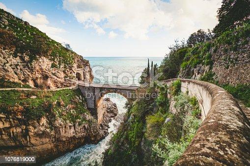 bridge over the fjord of furore at the amalfi coast in italy.