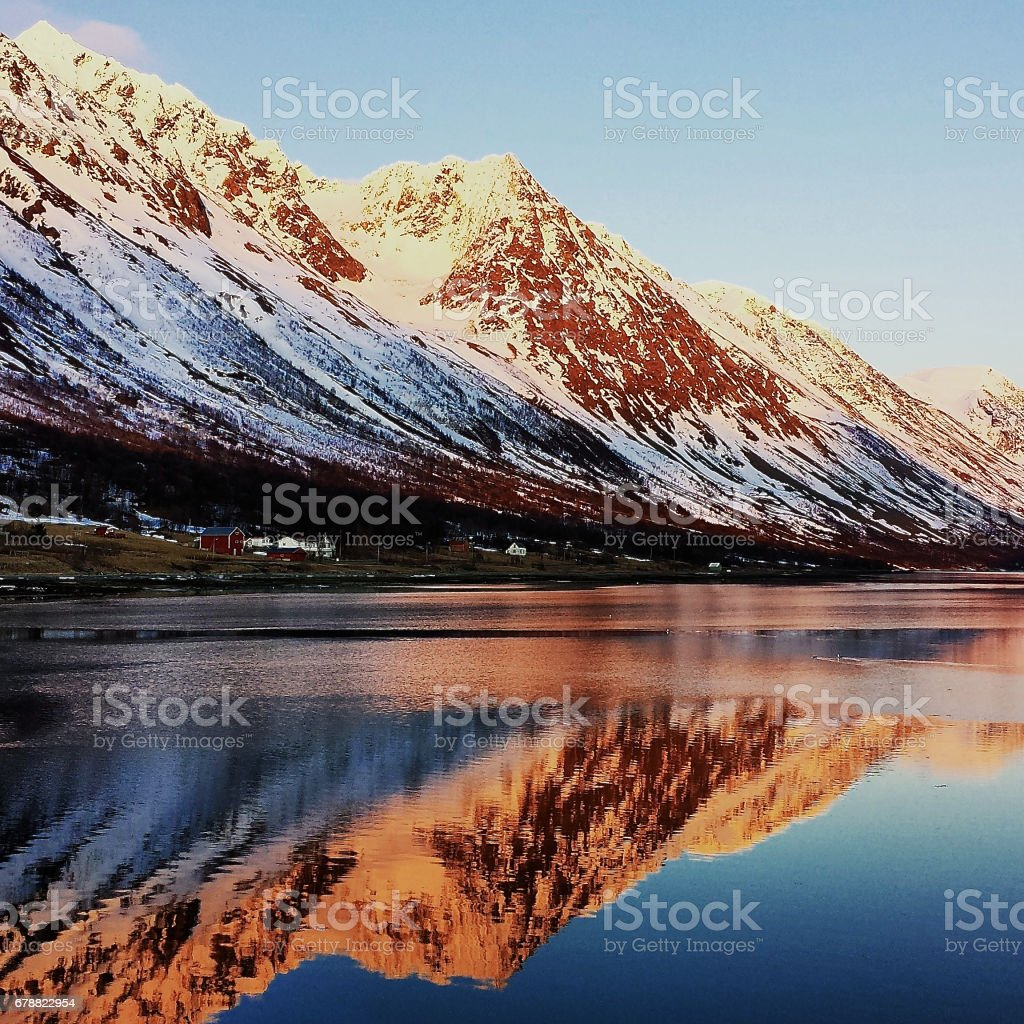Fjord view in evening stock photo