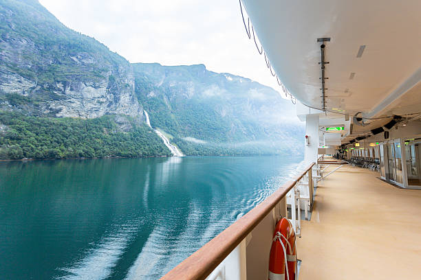 fjord view on a cruise ship - fjord stock photos and pictures