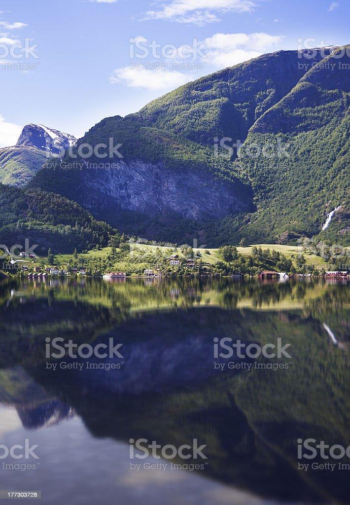 Flåm (Flaam) in Aurland - Norway stock photo