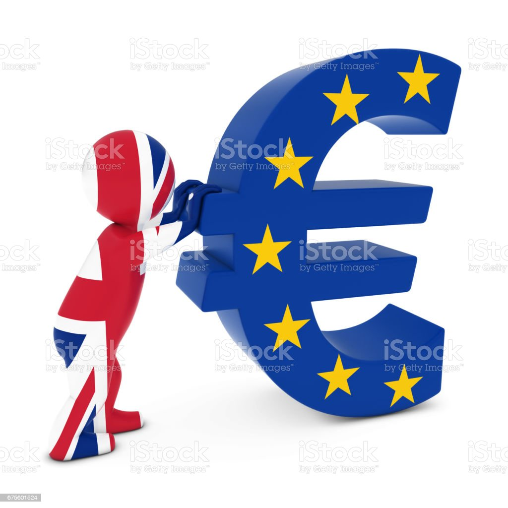 UK Flag Man 3D personnage poussant le drapeau européen Euro symbole 3D Illustration photo libre de droits