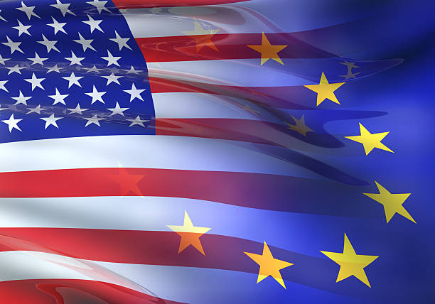 US-EU-Flagge 3D – Foto