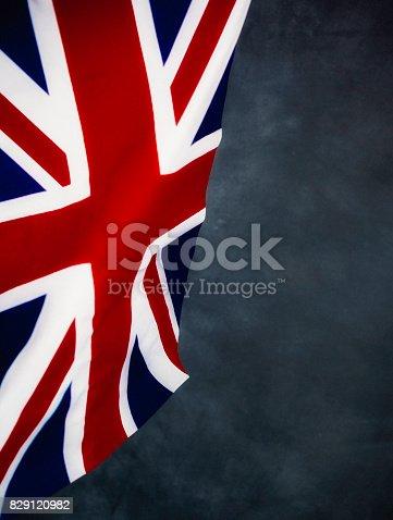 UK flag against chalkboard background
