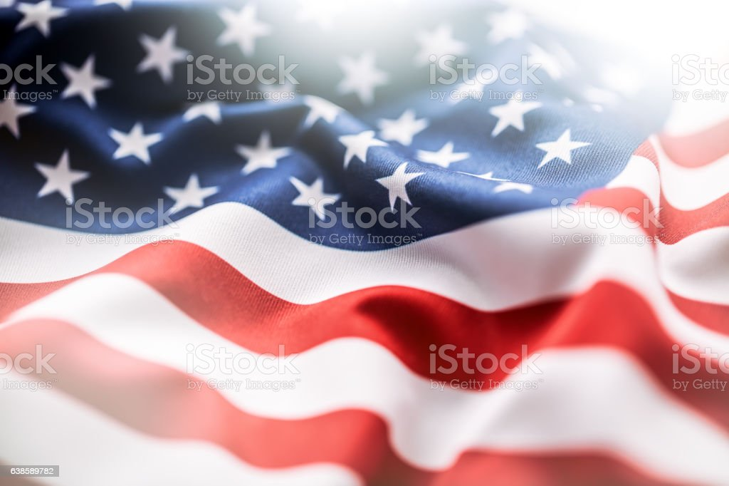 USA flag. American flag. American flag blowing wind. Close-up. stok fotoğrafı