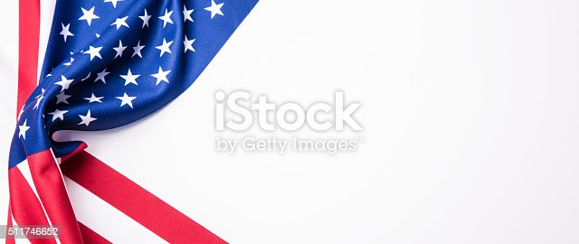 istock USA flag. American flag. American flag blowing wind. 511746652