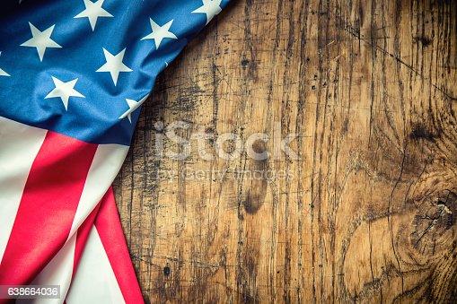 istock USA flag. American flag. American flag freely lying on table. 638664036