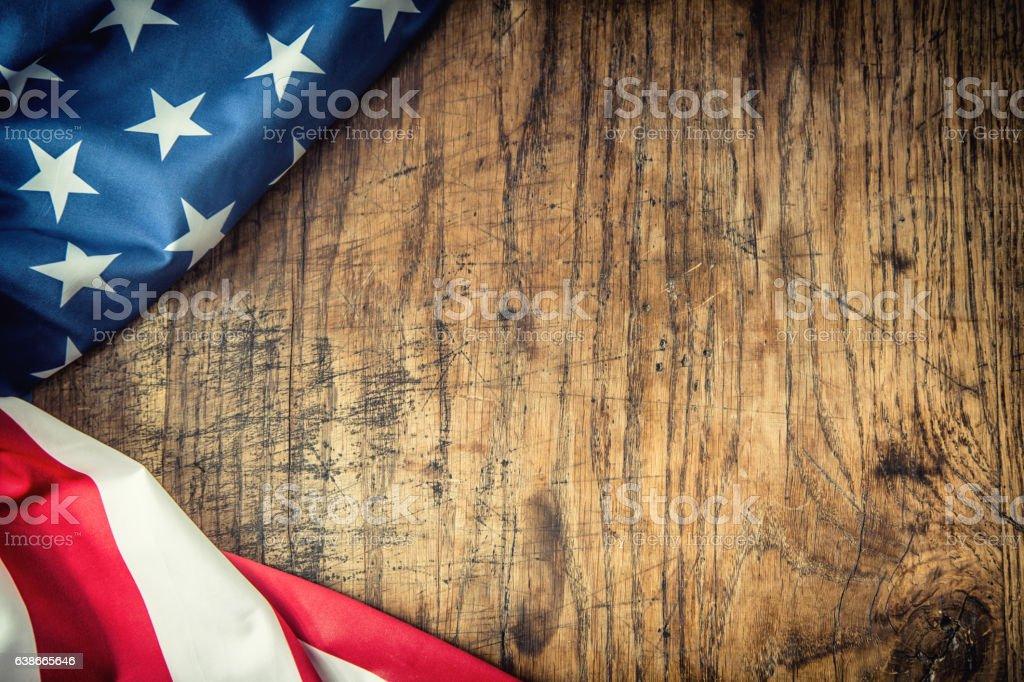 USA flag. American flag. American flag freely lying on table. stock photo