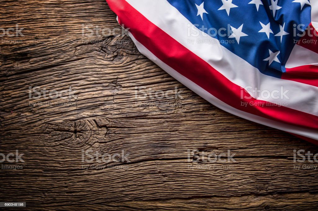 USA flag. American flag. American flag on old wooden background.Horizontal. stock photo