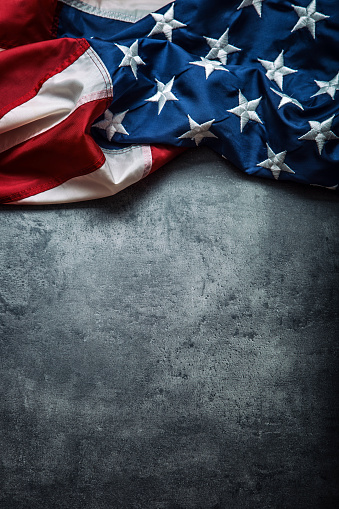 Usa Flag American Flag Freely Lying On Concrete Background