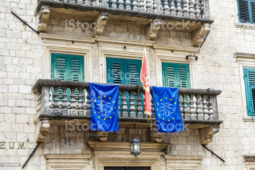 Flag and Banners on Balcony - Royalty-free Adriatic Sea Stock Photo