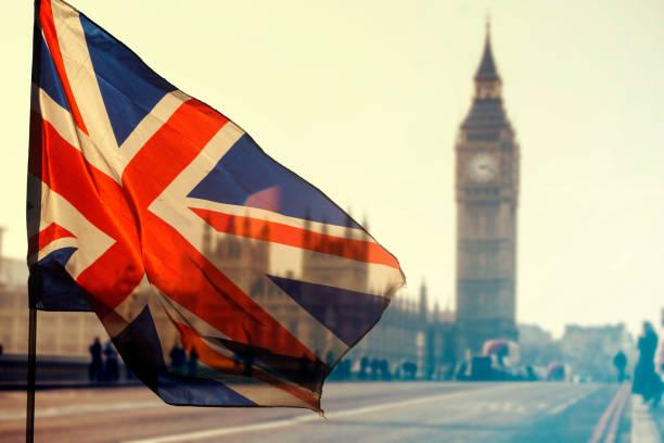 英国旗とビッグ ベン - イギリス ストックフォトと画像