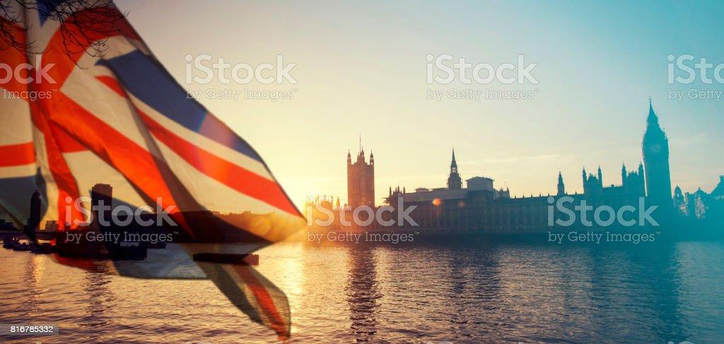 UK flag and Big Ben - foto stock