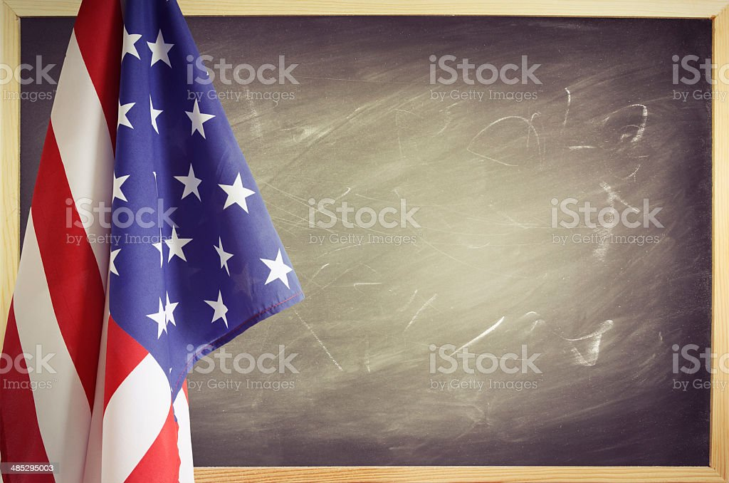 Flag and blackboard stock photo