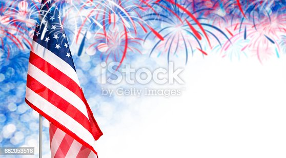 istock USA flag and bokeh background with firework and copy space for 4 july independence day and other celebration 682053516