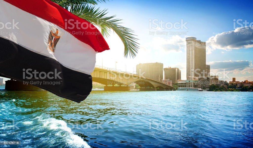 Puente de la bandera y el Cairo - foto de stock