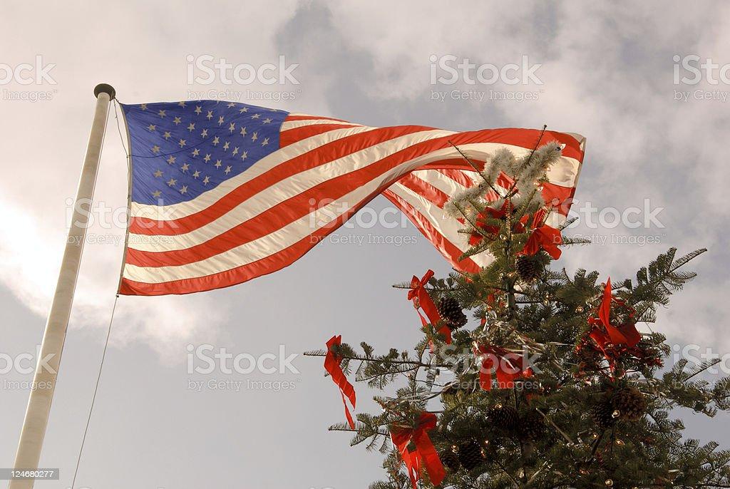 US Flag and Christmas Tree stock photo