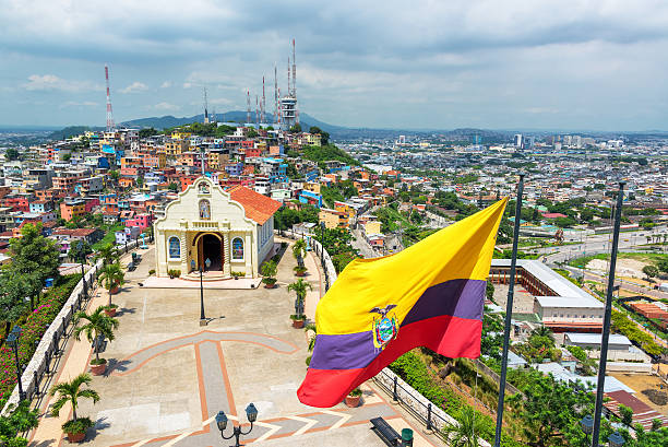Flag and Church in Guayaquil stock photo