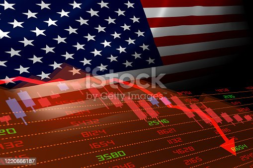 United States economic downturn with stock exchange market showing stock chart down and in red negative territory. Business and financial money market crisis concept in the U.S.
