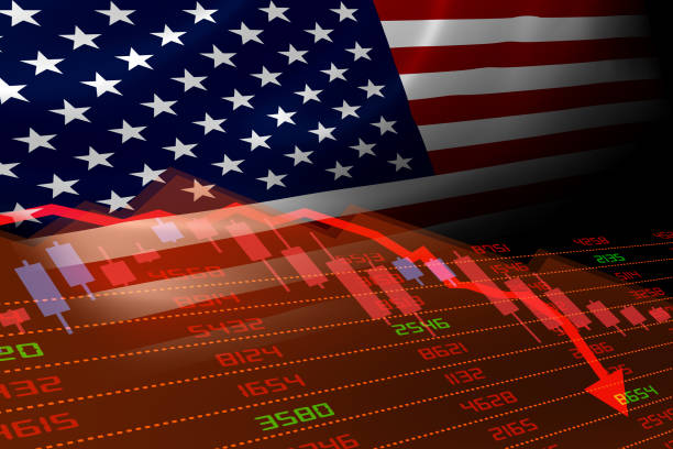 USA Flag and Economic Downturn With Stock Exchange Market Indicators in Red stock photo