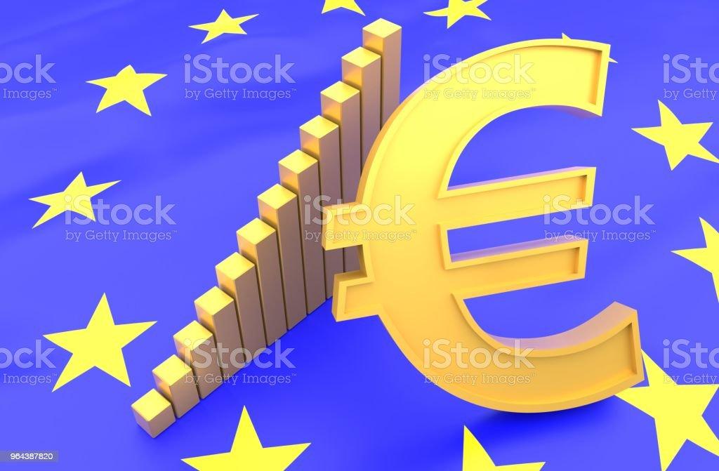 EU-vlag en euro met grafiek - Royalty-free Europa - Geografische locatie Stockfoto