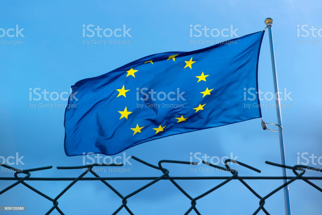 EU Flag and fence, concept picture stock photo