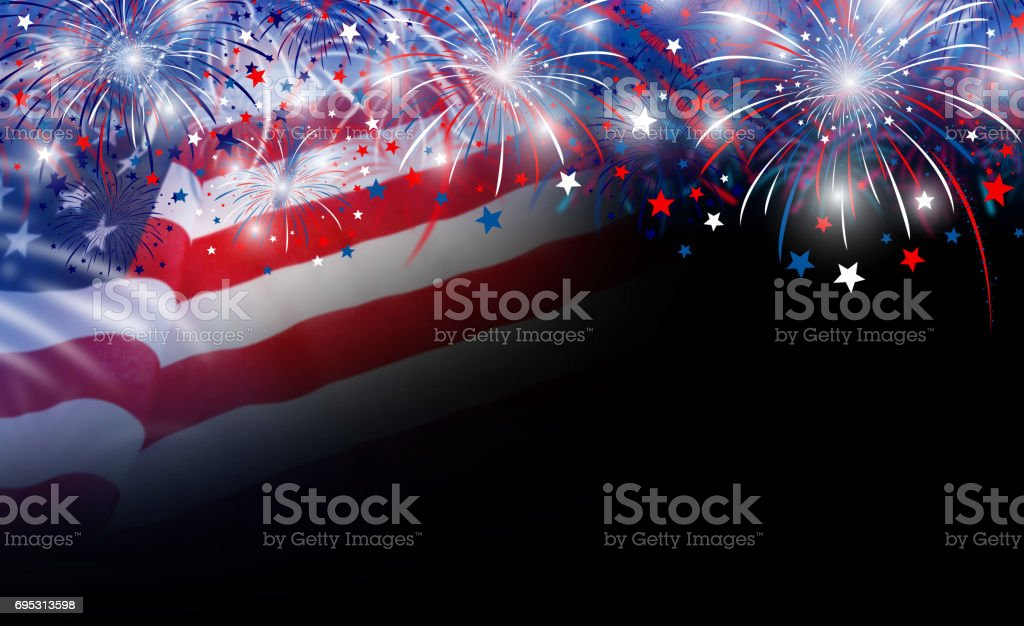 USA flag and fireworks background with copy space stock photo