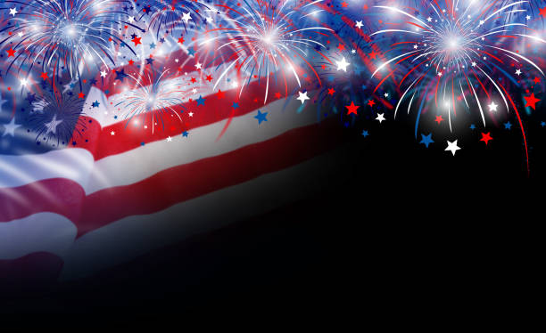 usa flag and fireworks background with copy space - fourth of july стоковые фото и изображения