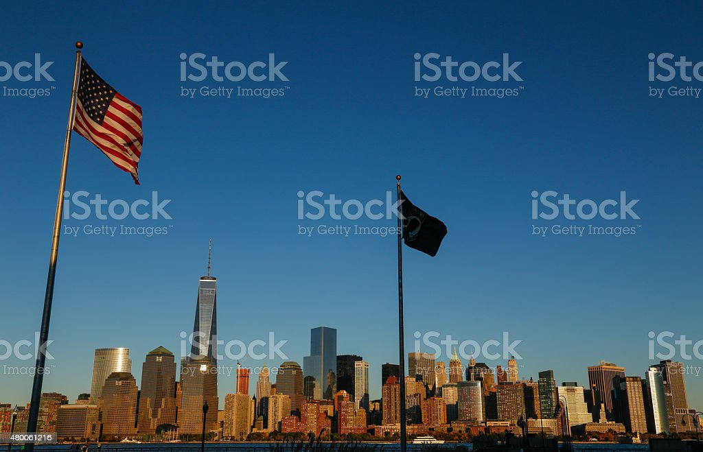 USA flag and Freedom Tower in New York stock photo