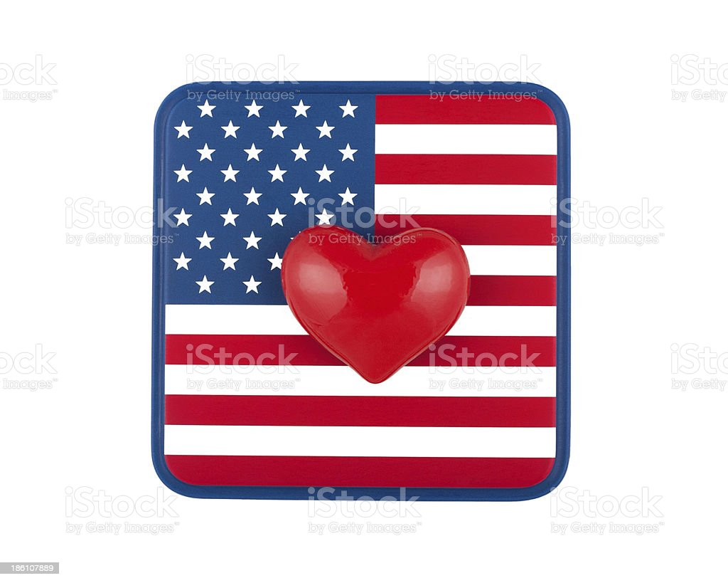 US flag and heart stock photo