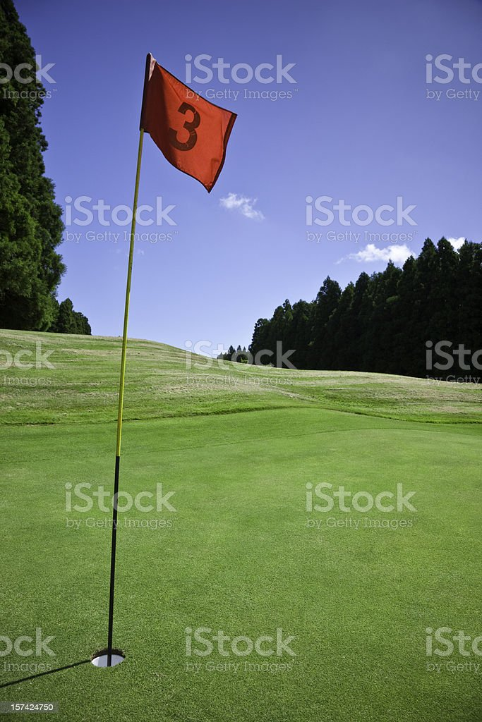 Flag and Hole No. 3 on Golf Course stock photo
