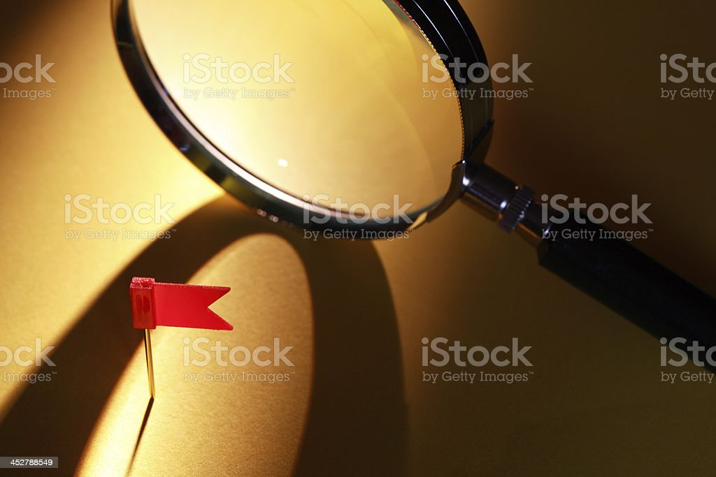 Flag And Magnifying Glass stock photo