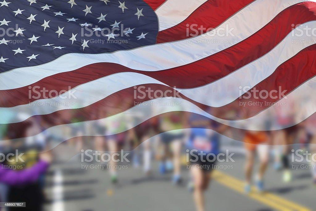 US Flag and maratón corredores - foto de stock