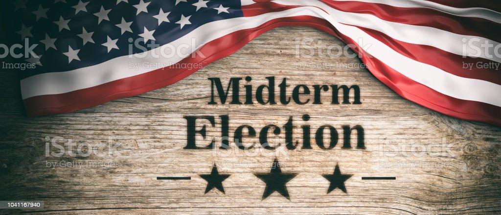 USA-Flagge und Midterm-Wahlen, hölzernen Hintergrund, 3d illustration – Foto