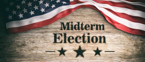 usa flag and midterm elections, wooden background, 3d illustration - кандидат на пост президента стоковые фото и изображения