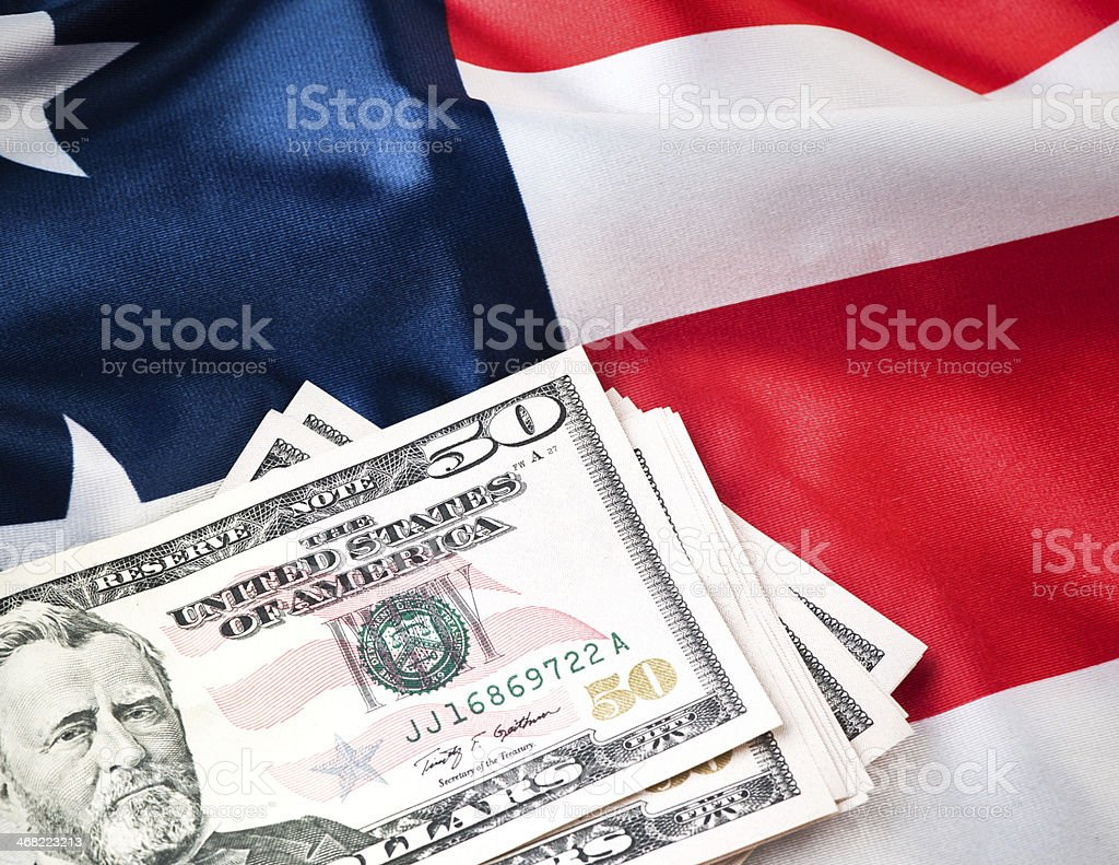 US Flag and money stock photo