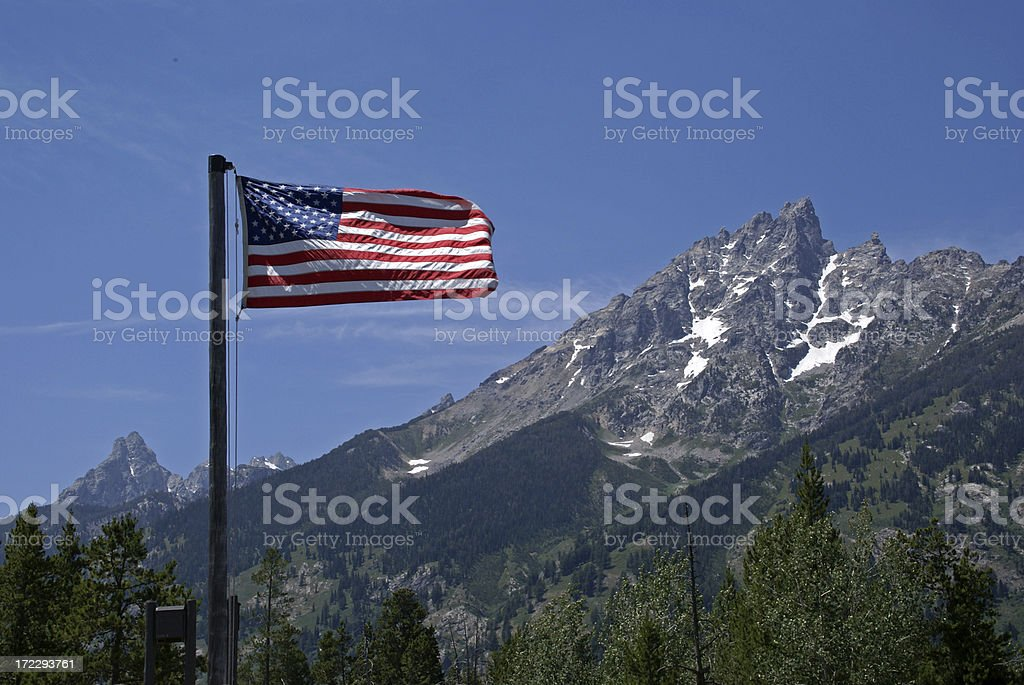 US Flag and Mountains stock photo