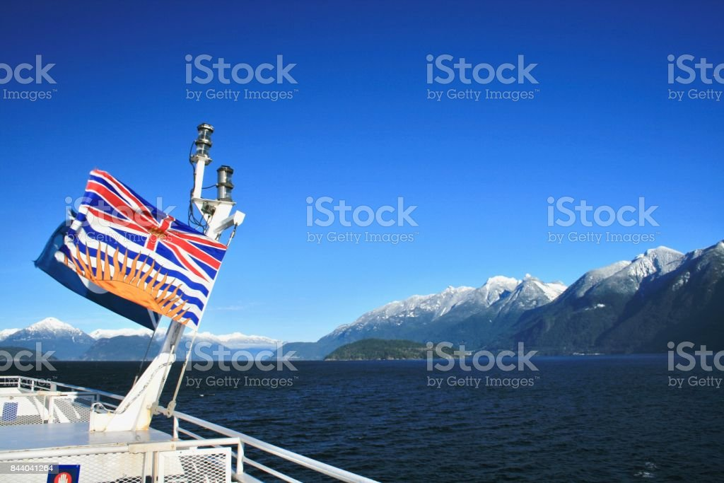 Flag and Mountains stock photo