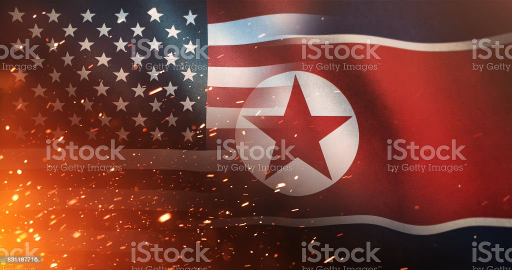 US Flag And North Korean Flag - Crisis / Conflict stock photo