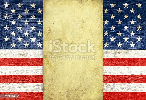 914589912 istock photo USA flag and old parchment 679891412