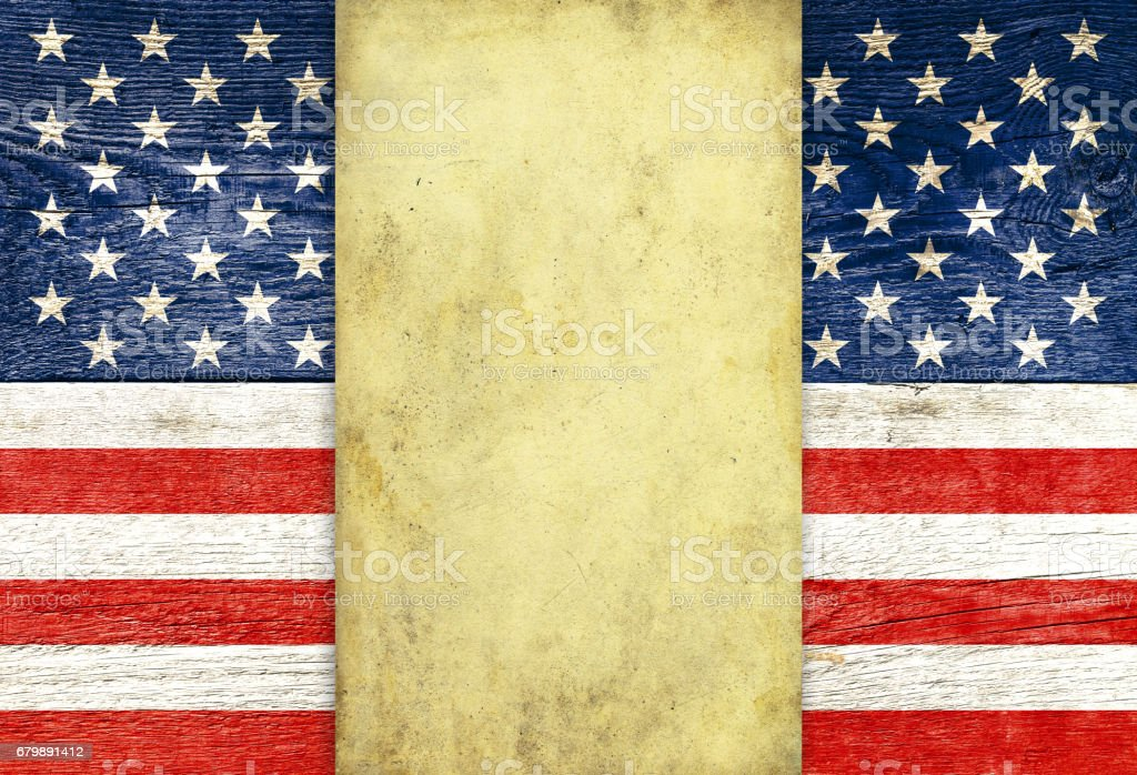USA flag and old parchment stock photo