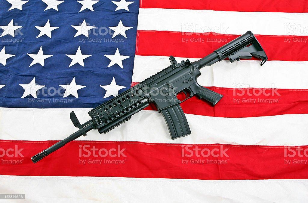 Flag and rifle stock photo