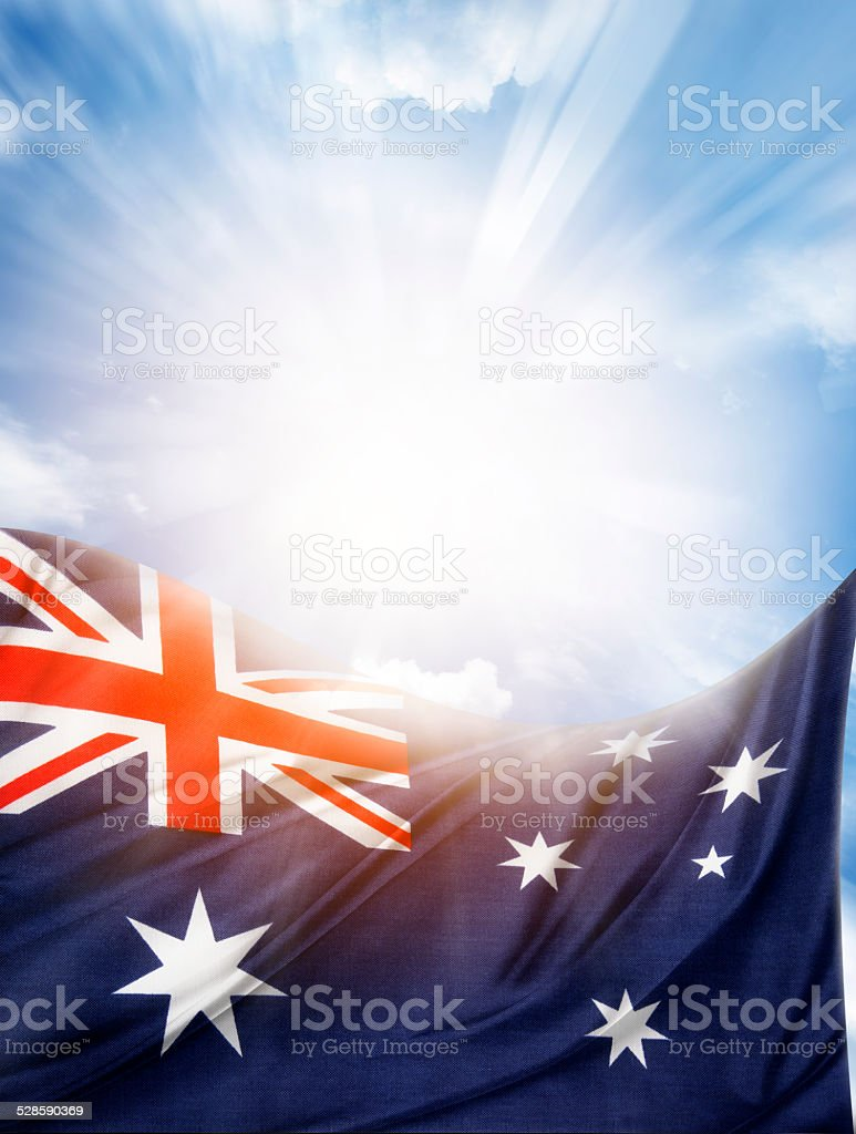 Flag and sky stock photo