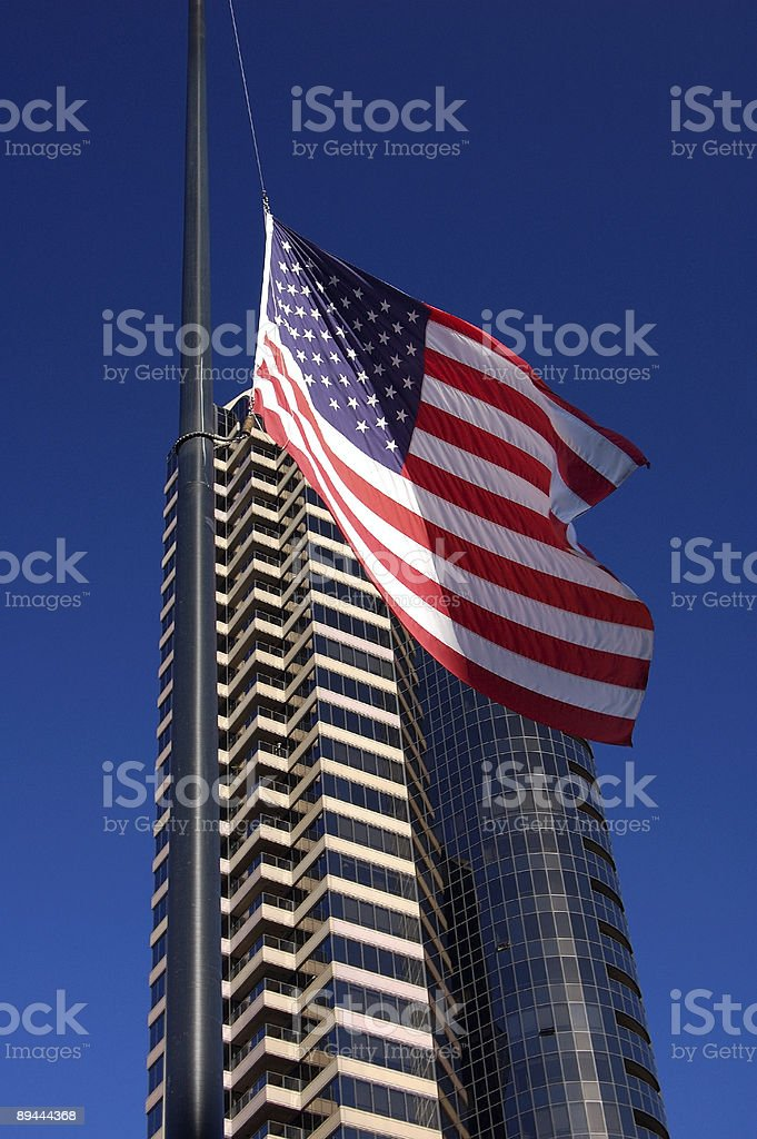 Flag and Skyscraper royalty-free stock photo